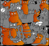 Gray and ginger cats on black. Gray and ginger cats on black, VECTOR background Royalty Free Stock Photo