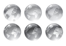 Gray globe icons. Vector Illustration of gray globe icons with different continents Royalty Free Stock Image