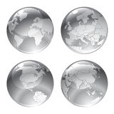 Gray globe icons Stock Photos
