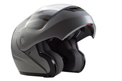Gray, glossy motorcycle helmet Stock Photo