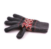 Gray glove. With red and white ornament on white background stock image