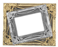 Gray and gold  picture frame with a decorative pattern on white Royalty Free Stock Photos