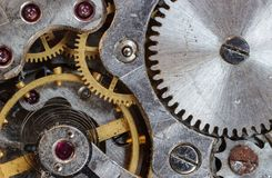 Gray and Gold Steel Gears Royalty Free Stock Photos