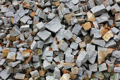 Gray gravel photo for background. Sharp stones in pile for construction. Road or building construction supply. Gray Royalty Free Stock Images
