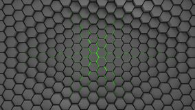 Gray and green metal hexagons abstract background, 3d render stock illustration