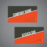 Gray-green  and orange color business card with white stripe Royalty Free Stock Photography
