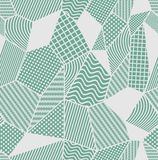 Gray and green tile with patchwork patterned elements. Composed from polygonal shapes with simple geometric patterns. Vector eps 10 template Royalty Free Stock Photo