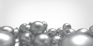 Gray grey 3D christmas balls tree globes  on white background Royalty Free Stock Photos