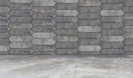 Gray grunge hexagon wall concrete background and floor Stock Image