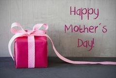 Pink Present, Text Happy Mothers Day Royalty Free Stock Image