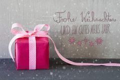 Pink Present, Snowflakes, Calligraphy, Gutes Neues Means Happy New Year Stock Photos