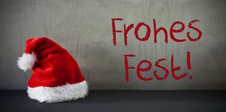 Santa Hat, Frohes Fest Means Merry Christmas Royalty Free Stock Photos