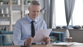 Gray Hair Businessman Reading Documents positivo, contrato video estoque
