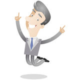 Gray-haired businessman jumping Royalty Free Stock Image
