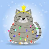 A gray-haired gray cat in a strip is sitting, a star on his head is dressed in a garland from a Christmas tree. Stock Photos