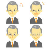 Gray haired man in suit, expressions. File Stock Photos
