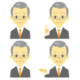 Gray haired man in suit, expressions. File Royalty Free Stock Photo