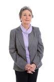 Gray-haired senior lady - elder woman isolated on white backgrou Royalty Free Stock Image