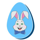 Gray happy Easter rabbit in a bow tie inside a colorful egg stock illustration