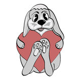 Gray hare. Holds in paws red heart on Valentine's Day Stock Photos