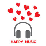 Gray headphones with red heart and word happy music vector Stock Image