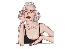 Gray hear girl character illustration. Girl character with gray hear illustration squared with red contour Royalty Free Stock Image