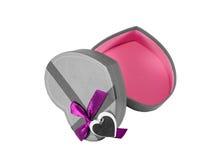 Gray Heart shaped box Stock Photos