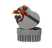Gray Heart shaped box Stock Photo