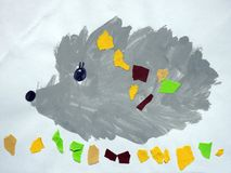 Painted beautiful hedgehog and leaves Stock Photos