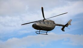 Gray Helicopter on Air Royalty Free Stock Photos