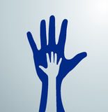Gray helping hands. Idea of the sign for the association of care - hand in hand. Vector. Blue helping hands for volunteer Stock Photography