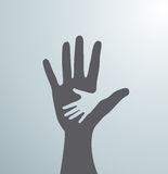 Gray helping hands. Idea of the sign for the association of care - hand in hand. Vector Stock Photo