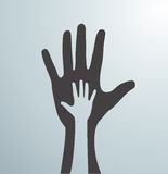 Gray helping hands. Idea of the sign for the association of care - hand in hand. Vector Stock Image