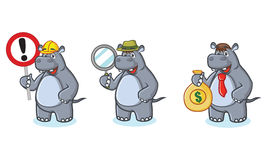 Gray Hippo Mascot with money Royalty Free Stock Photography