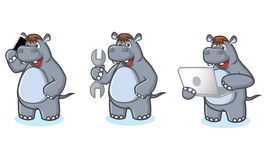 Gray Hippo Mascot with phone Stock Photography