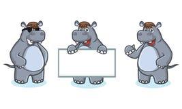 Gray Hippo Mascot Vector felice Immagini Stock