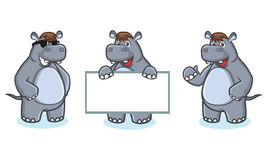 Gray Hippo Mascot Vector happy Stock Images