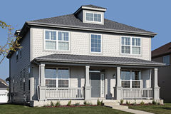 Gray home with front porch. Gray home in suburbs with front porch Stock Image