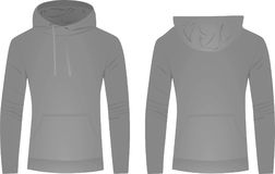 Gray hoodie front and back view Stock Photos