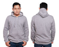 Gray Hoodie Mock up. Blank sweatshirt mock up, front, and back view, isolated on white. Asian male model wear plain gray hoodie mockup. Hoody design presentation Royalty Free Stock Photo