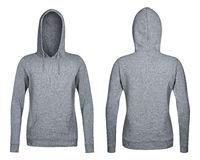 Gray hoodie, sweatshirt mockup, white background Stock Photos
