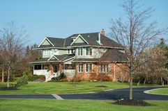 Gray House. Beautiful luxury home with veranda / porch stock image