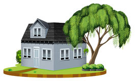 Gray house with big tree in lawn. Illustration Stock Photo