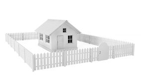 Gray House with Fence Stock Photos