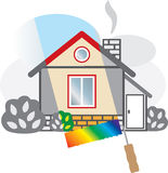 Gray house is painted in bright colors. Vector illustration Stock Illustration