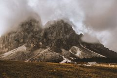 Gray House Under Gray and White Volcano's Foot Royalty Free Stock Image