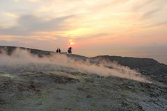 Gray Hydrogen Volcano and Volcano Craters on Vulcano Island, Lipari, Italy. Sunset, Gas, Sulfur, Poisonous Pairs, Evaporation. Gray Hydrogen Volcano and Volcano royalty free stock photography