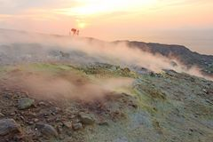 Gray Hydrogen Volcano and Volcano Craters on Vulcano Island, Lipari, Italy. Sunset, Gas, Sulfur, Poisonous Pairs, Evaporation.  stock images