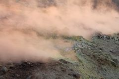 Gray Hydrogen Volcano and Volcano Craters on Vulcano Island, Lipari, Italy. Sunset, Gas, Sulfur, Poisonous Pairs, Evaporation.  royalty free stock images