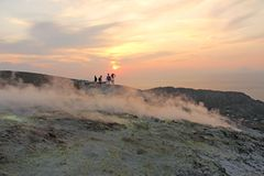Gray Hydrogen Volcano and Volcano Craters on Vulcano Island, Lipari, Italy. Sunset, Gas, Sulfur, Poisonous Pairs, Evaporation. Gray Hydrogen Volcano and Volcano royalty free stock photo